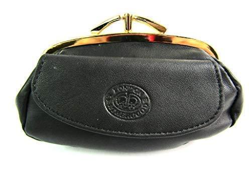 Damen Premium Leder Clipverschluss Portemonnaie - Schwarz, 9cm 3.54