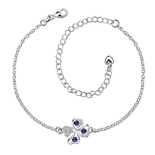 Daesar Fußkette Damen Silber Klee Blau Zirkonia Versilbert Fusskette Orientalisch