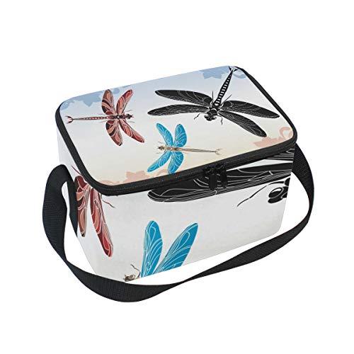 (Lunchtasche Schablone Libelle Vector in drei Varianten Kühler für Picknick Schultergurt Lunchbox)