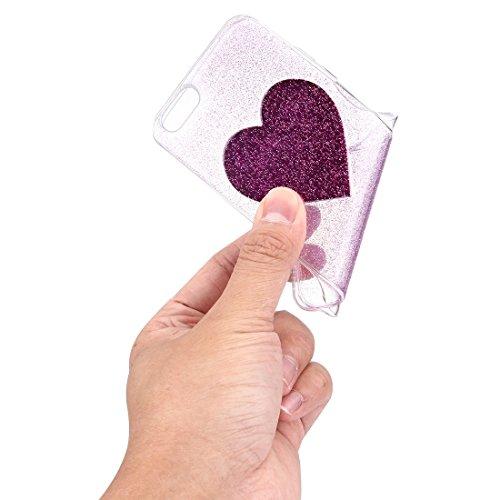 GHC Cases & Covers, Glitter Powder Herz Muster TPU Soft Schutzmaßnahmen zurück Fall für iPhone 6 & 6s ( Color : Black ) Purple