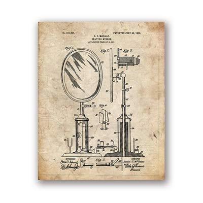 ziweipp Badezimmer-Patent-Lichtpausen-Weinlese-Plakat-Wand-Kunst-Druck-Badezimmer-Dekor, Friseur-Geschenke, die Foto für Friseur 40 * 50cm malen -