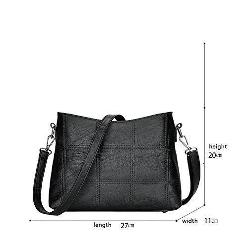Sunas Borsa del messaggero di spalla di grande capacità delle borse di modo del modello del ricamo della borsa dell'unità di elaborazione della nuova borsa delle signore nero