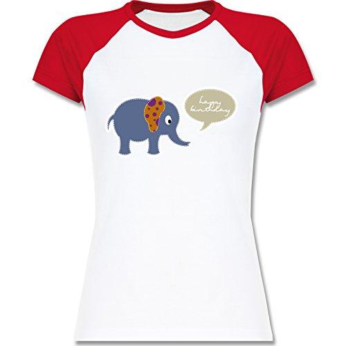 Geburtstag - Elefant Happy Birthday - zweifarbiges Baseballshirt / Raglan T-Shirt für Damen Weiß/Rot