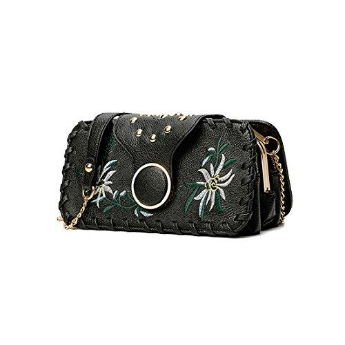 GWELL Damen Vintage Handtasche Umhängetasche Pu Leder mit Nieten Blumen Stickerei Klein Quadratische Kettentasche gelbrot schwarz