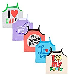 MYFAA Girls Camisole- Pack of 5 (V5P-1043-3-6M, Multi-Coloured, 3-6 Months)