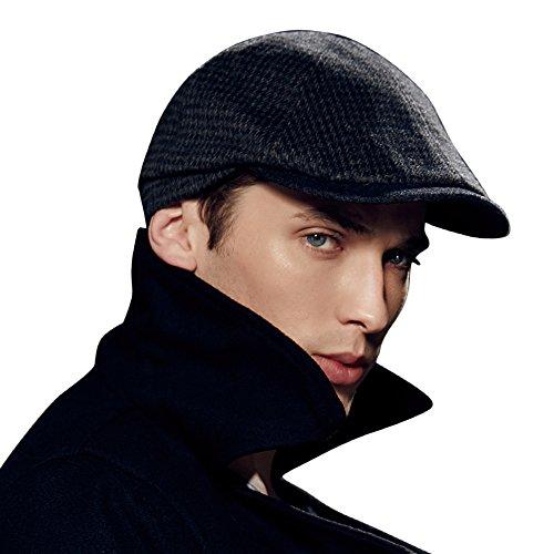 Kenmont Printemps Automne Hommes Homme Laine Visor chauffeur de taxi gavroche chapeau casquette Ivy (gris noir)