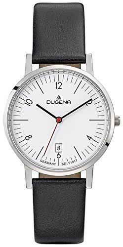 Dugena Herren Armbanduhr Moma Leder 37mm schwarz/weiß