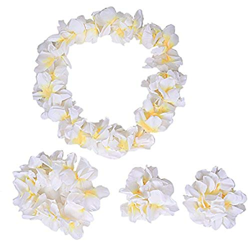 NFACE Hawaiian Luau Flower Leis Jumbo Halskette Armbänder Stirnband Set Weiß (Hawaiian Leis, Flower)