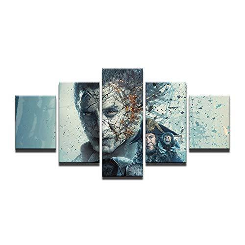 r Leinwand Malerei 5 Panel Film: Dead Men Tell No Tales Wandbild Für Wohnzimmer-16x24/32/40inch,With frame ()