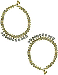 Zaveri Pearls Set Of 2 Charming Gold Tone Anklet Set For Women - ZPFK5678