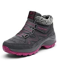 Mujeres al Aire Libre Caminar Senderismo Encaje Botas Mujeres Zapatos Casuales Invierno cuña Botines Botas de