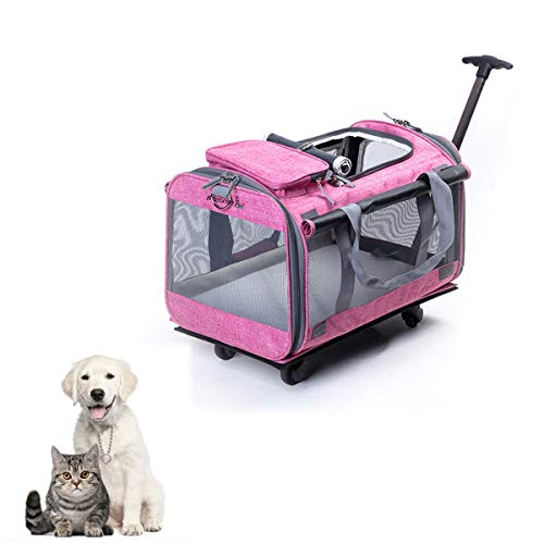 Rosa Rädern Rucksäcke (Tineer Multifunktions-Handtasche Pet Dog Travel Carrier Kinderwagen mit abnehmbaren Rädern, Pet Carrier Rucksack für kleine Hunde/Katzen bis zu 22lbs Outdoor-Einsatz (Rosa))