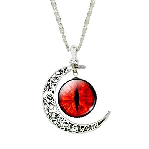 Caliente Rojo Ojos Sangrientos Cristal Strass Colgante Collar Retro Co