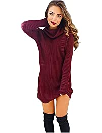 SHOBDW Sudadera para Mujeres Cuello Alto Jersey Cárdigan Sexy Elegante Camiseta Larga Jersey Pullove Casual Jersey