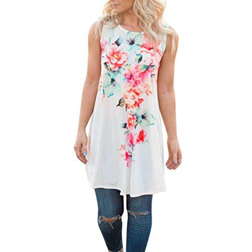 Tonwalk Mode Femmes Été Sans manches Floral imprimé T-shirt Blouse Top Tank Blanc