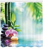 Abakuhaus Duschvorhang, Ruhige Zen Teich Abbildung Kieselsteinen Kerzen und Blüten Welche Ruhige Atmosphäre Darstellt, Blickdicht aus Stoff mit 12 Ringen Waschbar Langhaltig Hochwertig, 175 X 200 cm