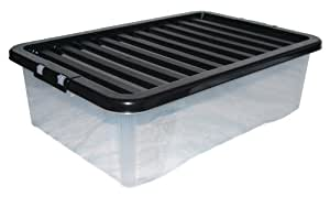 PK OF 3 32LT CLEAR UNDERBED BOX + BLACK LID