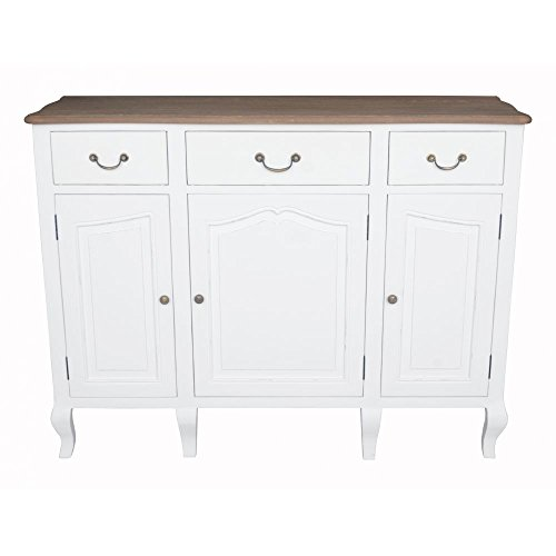 PierImport Buffet Bois Massif Blanc Prague ref. 30020692