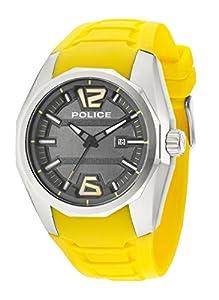 Police PL.94764AEU/13 - Reloj de cuarzo para hombres con esfera gris y correa amarilla de silicona de Police