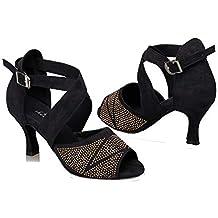 HCCY Zapatos de Baile Latino con Diamantes Sandalias de Baile para Adultos  de Baile Moderno cc7b7bd9f51f