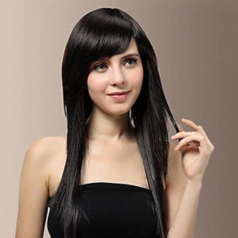 OOFAY JF ® lungo fix faccia seria lato naturale nero sbatte parrucca di capelli