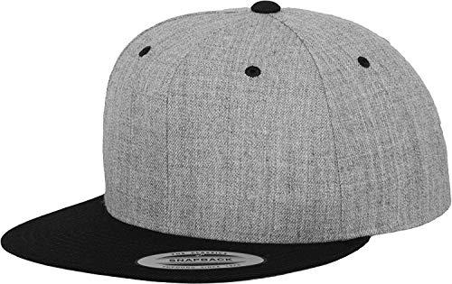 Yupoong Flexfit Unisex Kappe Classic Snapback 2-Tone, zweifarbige blanko Cap mit geradem Schirm, One Size Einheitsgröße für Männer und Frauen, Farbe h.grey/blk