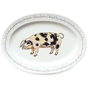 Jersey Pottery cour de ferme Porcelaine Old Spot Pig Plate 30cm