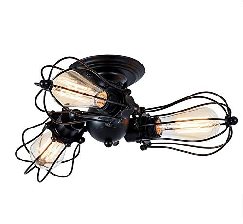 Luminaire suspendu plafonnier suspendu à la lumière, plafonnier industriel, luminaire industriel vintage E27 Edison à 3 lumières