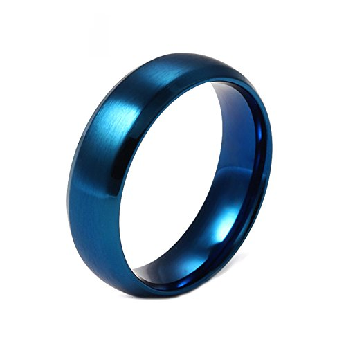 Heyrock Blue Ring 316l stainless steel Party Jewelry For Men Women Matte 6mm Full Size (Stainless Steel Wide Band)