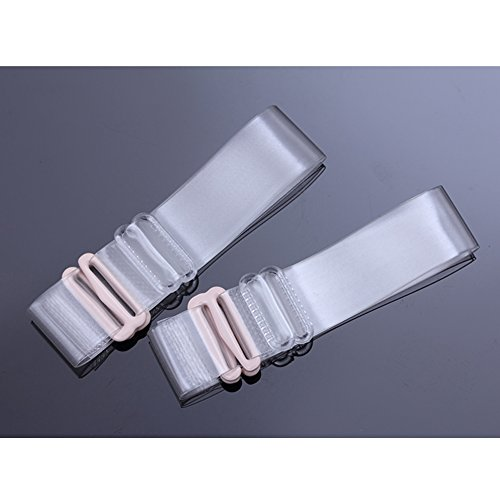 RotSale® 2x Transparent Klar 1,5cm Breite Schultergurt Elastisch Einstellbar Silikon BH-Träger mit Haken