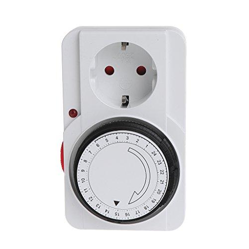Qiman Mechanischer elektrischer EU-Stecker-Programm-Timer-Energie-Schalter-Sockel-Energie-Retter 24H (Klimaanlage Mechanische)