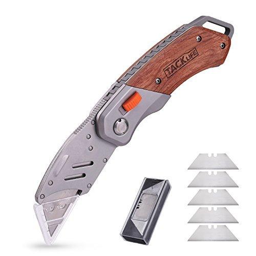 Cuttermesser, TACKLIFE UKW03 Universalmesser, Teppichmesser, inkl. 5 Ersatzklingen, mit Beidseitiger Rosenholzgriff, zum Schneiden Verschiedener Materialien, Sicher und Schnell
