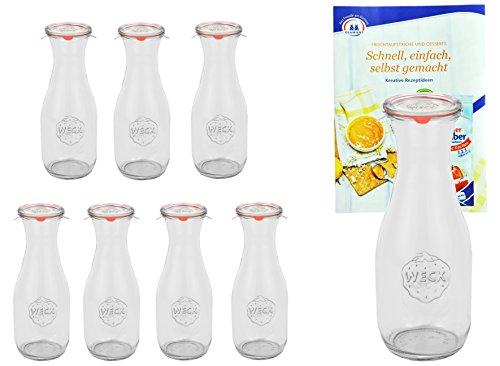 MamboCat 8er Set Weck Gläser 530ml 1/2 Liter Saftflasche mit 8 Glasdeckeln, 8 Einkochringen und 16 Klammern inkl. Gelierzauber Rezeptheft von Diamantzucker
