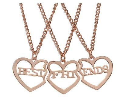 TBOP Best Friends Three-Piece Pendant Heart-Shaped Necklace In Rose Gold Color For Women