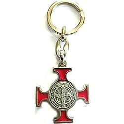 GTBITALY 50.021.11Rojo Llavero Cruz Celta de San Benito esmaltado 10cm Plateado Envejecido esorcismo Iglesia Lou patrou Monja
