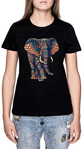 Florido Elefante Negro Camiseta Mujer Manga Corta Black T-Shirt Women's