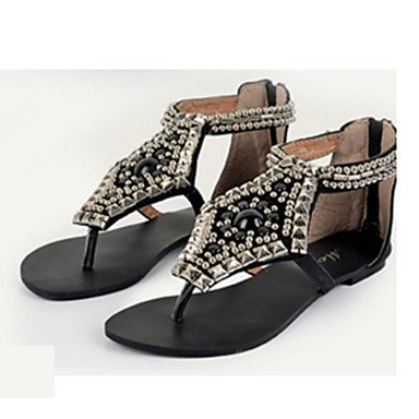 RTRY Donna Sandali Primavera Estate Autunno Gladiator Comfort Novità Pu Ufficio Outdoor & Carriera Abito Casual Heelbeading Piatto Scintillante Gl US6 / EU36 / UK4 / CN36