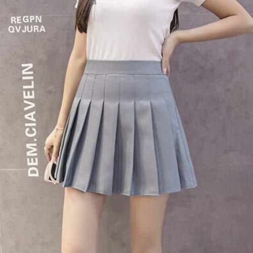 DWWAN Kurzer Rock Women Fashion Summer High Waist Pleated Skirt Wind Plaid Skirt Female Skirts XS Solid Grey