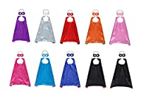 Slipond Super héroe capas y máscaras para niños niñas adultos vestir disfraces partido favores conjunto de 10