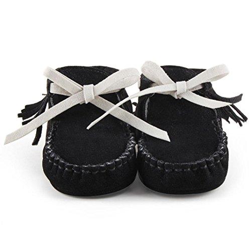 Clode® Kleinkind Baby Mädchen Neugeborene Prewalker Aufladung Quasten Schuhe Weiche Sole Schwarz