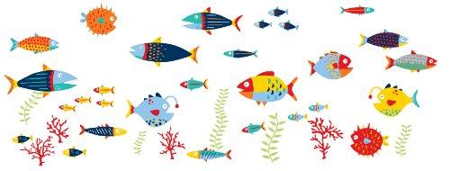 Preisvergleich Produktbild Wallpops Fisch Tales Wanddeko-Set,  klein