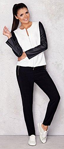 Capri Moda – Damen Reißverschluss Jacke Gesteppt Design Kunstlederärmeln – A110 - 5