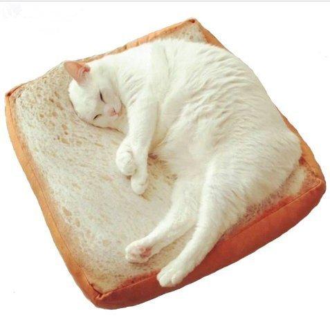 Cute weichen, weißen Brot Pet Katze Schlafplatz Pad Kissen Kinder Geburtstag Geschenk Home Bakery Shop Dekoration Creative Toasted Brot Kissen Plüsch Spielzeug ()