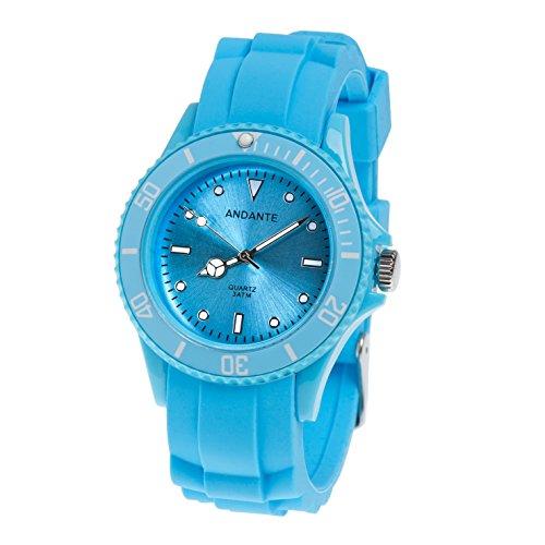 Andante Sportliche Wasserdichte Unisex Armbanduhr Silikon Uhr Quarz 3ATM BLAU AS-5008 (Wasserdichte Sportliche Uhr)