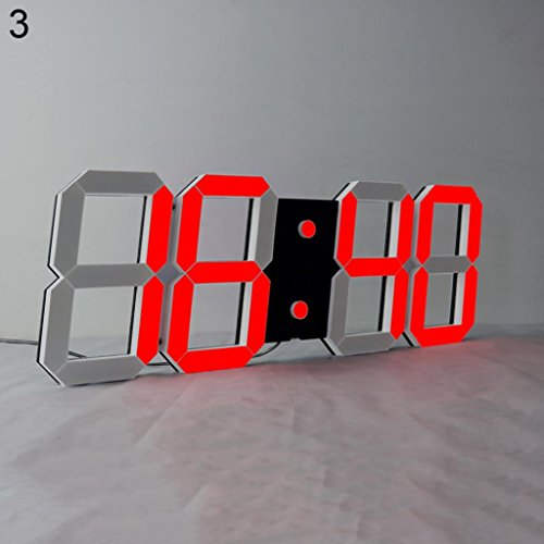 Livecity grande led digitale orologio da parete multi-funzionale telecomando countdown clock, black + red, large