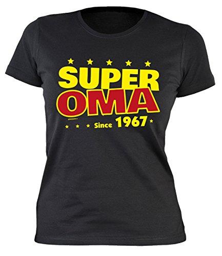 Sexy Damen T-Shirt zum 50. Geburtstag Super Oma since 1967 cooles Geschenk zum 50 Geburtstag Freundin Schwester 50 Jahre Geburtstagsgeschenk Geburtstagsshirt Mama Schwarz