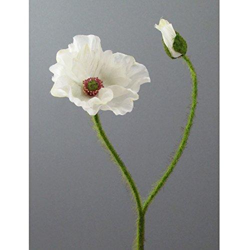Kunstblume MOHN mit Blüte und Knospe. Mohnblume ca 48 cm. In CREME-48