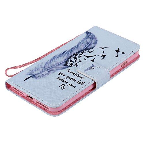 EUWLY Case Cover per iPhone 7 Plus/iPhone 8 Plus (5.5) Custodia Portafoglio PU Pelle Libro Flip Wallet Protettivo Case Cover Ultra Slim Sottile Smart Cover Morbido Impermeabile Antipolvere Protezione Piuma