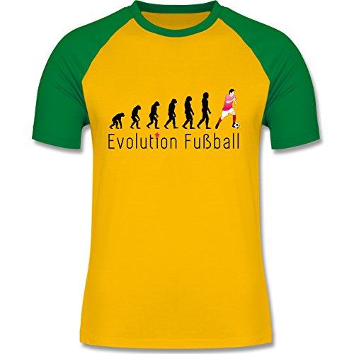 Evolution - Fußball Evolution - zweifarbiges Baseballshirt für Männer Gelb/Grün