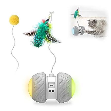 Decdeal Interaktives Katzenspielzeug Elektrisch Automatisch Federspielzeug Ball mit Buntem LED-Rad für Katzen